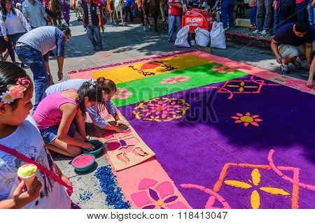 Locals Make Holy Week Carpet Of Dyed Sawdust, Antigua, Guatemala