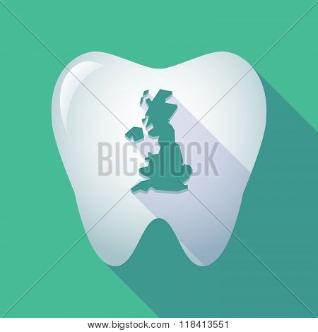 Long Shadow Tooth Icon With  A Map Of The Uk