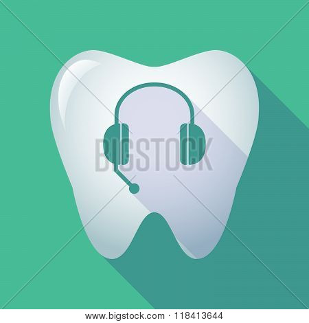 Long Shadow Tooth Icon With  A Hands Free Phone Device