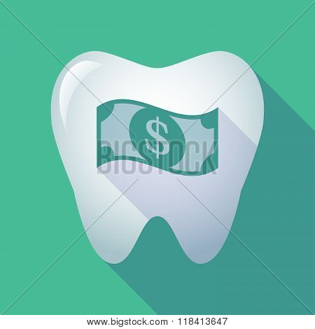 Long Shadow Tooth Icon With A Dollar Bank Note