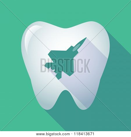Long Shadow Tooth Icon With A Combat Plane