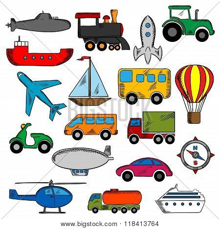 Aviation, transportation and ship icons