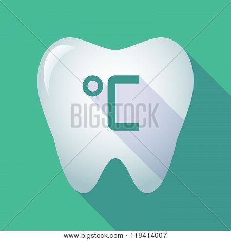 Long Shadow Tooth Icon With  A Celsius Degree Sign