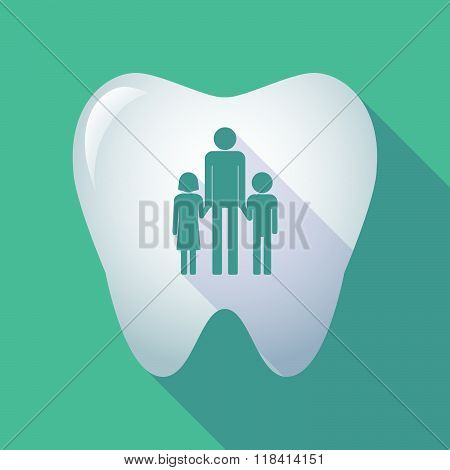 Long Shadow Tooth Icon With A Male Single Parent Family Pictogram