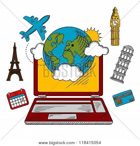 On-line travel and booking icons
