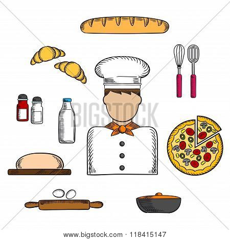 Baker icons with bakery and ingredients