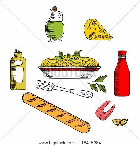 Italian pasta food with ingredients
