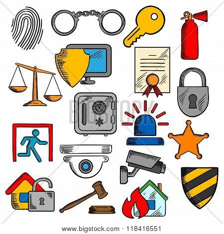 Security, safety and protection icons