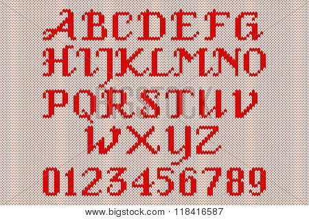 Red Knitted Alphabet And Figures