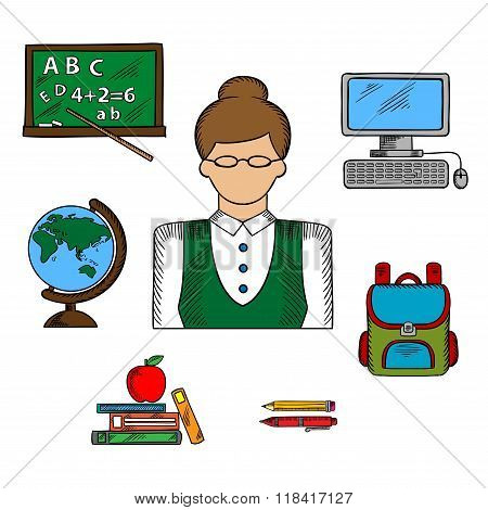 School teacher profession and education icons