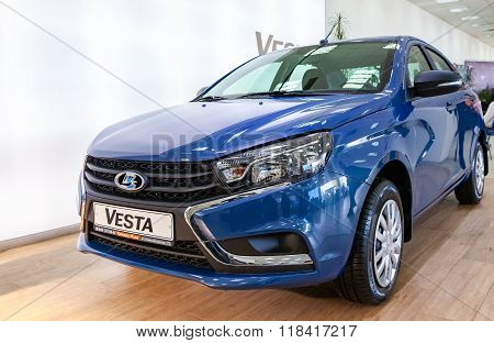 New Russian Car Lada Vesta. Lada Is A Russian Automobile Manufacture