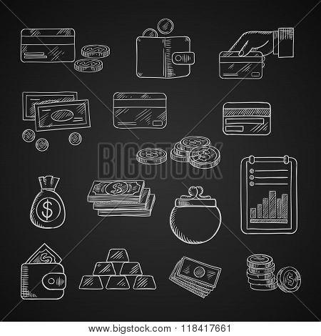 Finance, business and money chalk icons