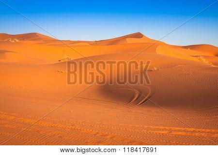 Sand Dunes In The Sahara Desert, Merzouga, Morocco