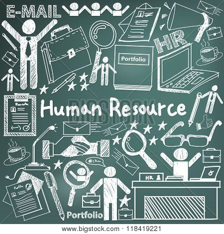 Human Resource Management In Organization Handwriting Doodle Icon Sketch Sign And Symbol In Blackboa