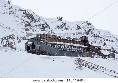 Exterior Of An Abandoned Arctic Coal Mine Buildings In Longyearbyen, Spitsbergen (svalbard). Norway.