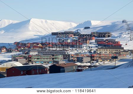 City Skyline In Longyearbyen, Spitsbergen (svalbard). Norway