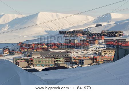 A City Details Of Longyearbyen - The Most Northern Settlement In The World. Spitsbergen (svalbard).