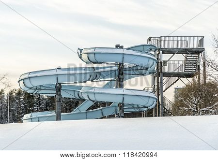 Water Slide In Winter With Snow