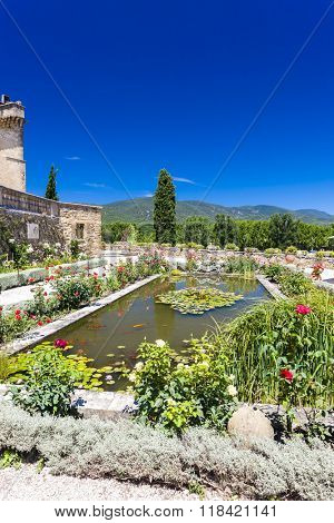 garden and palace in Lourmarin, Provence, France