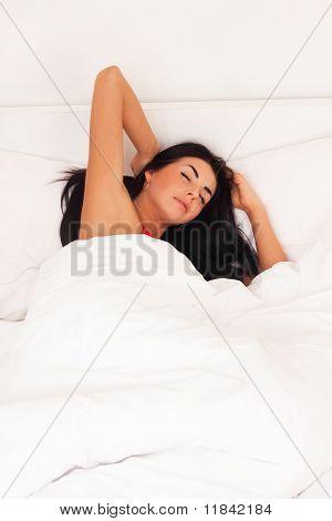 A Beautiful Young Girl Lying In Bed, Woke Up, Asleep.