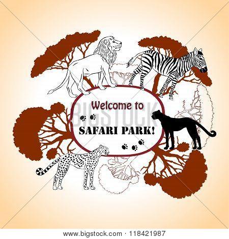 Background with savanna animals