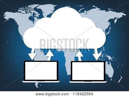 Two Computers Laptop Connected Cloud On World Map Blue Background. Vector Illustration Cloud Computi