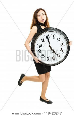 Woman In A Hurry Running With A Big Clock