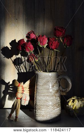 Autumn Still Life, Dried Rose, Straw Horse, Pumpkin