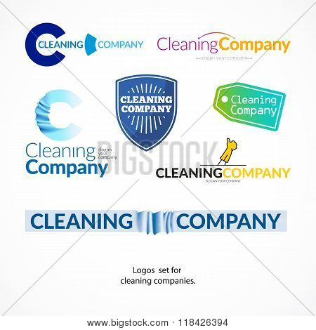 Vector collection logo set for cleaning company.