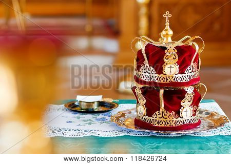 Bridal Crowns. Sacral Details Of Wedding Ceremony In The Orthodox Christian Church. Russia.
