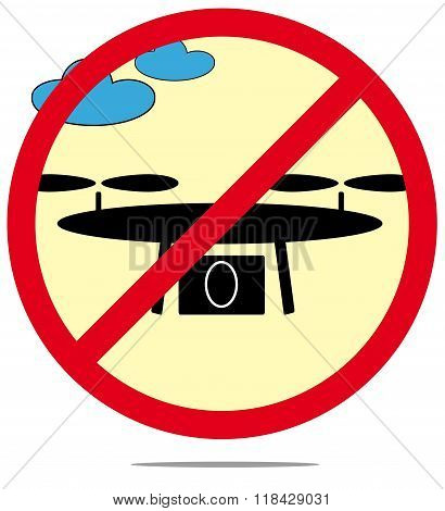 Illustration Of prohibited Drones Isolated On White Background