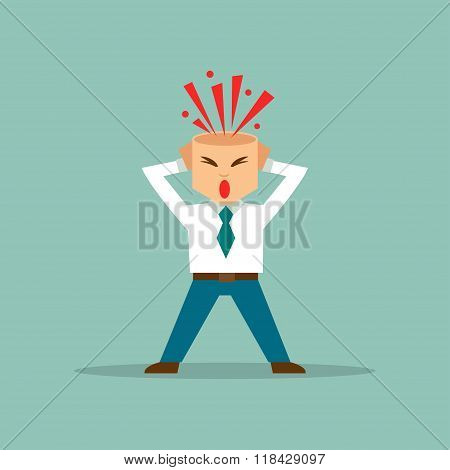 Businessman With Exploded Brain. Vector Illustration