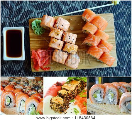 Collage of different sets of delicious rolls and sushi with eel, salmon and cream cheese
