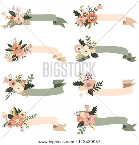 Rustic Floral Banners Elements