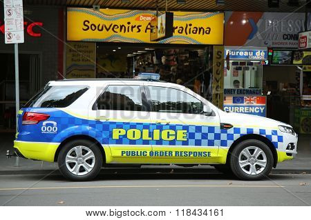 Victoria Police Public Order Response Team providing security in Melbourne