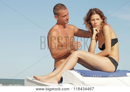 young couple facing crisis with unhappy girl
