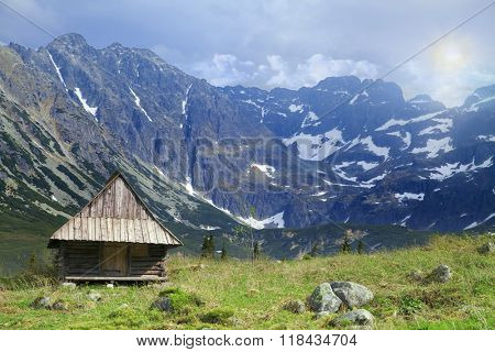 The chalet in the mountains.
