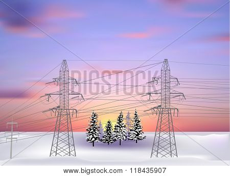 illustration with electric power pylons at winter sunset
