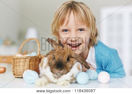 Ecstatic child and his pet