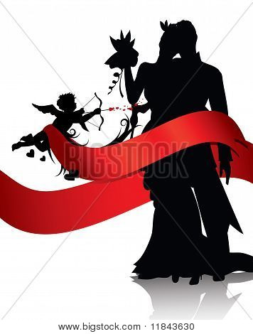 Romantic Couple With Cupid Background