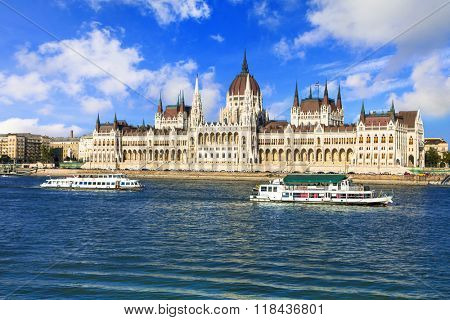 Budapest - view with Parliament and cruise boats
