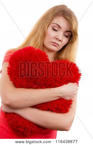 Woman Sad Girl Hugging Red Heart Love Symbol