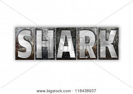 Shark Concept Isolated Metal Letterpress Type