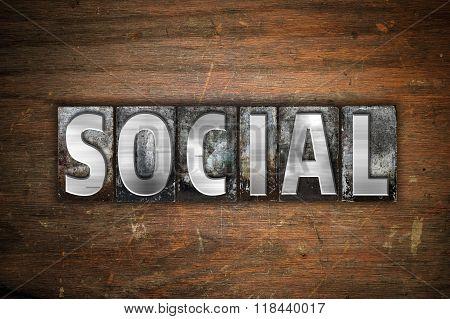 Social Concept Metal Letterpress Type