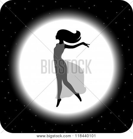 Flying woman on the moon background