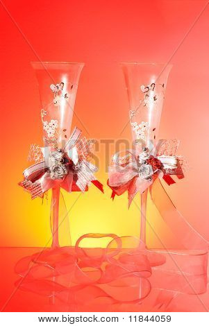 Wedding Glasses On Red Background