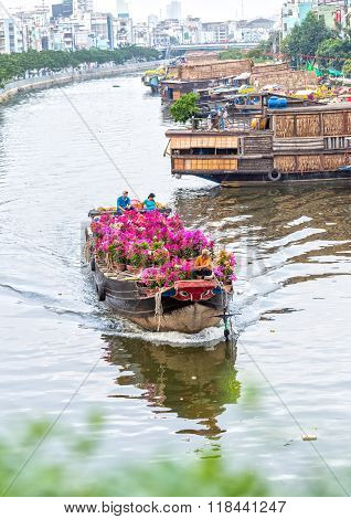 Flower boats on the river