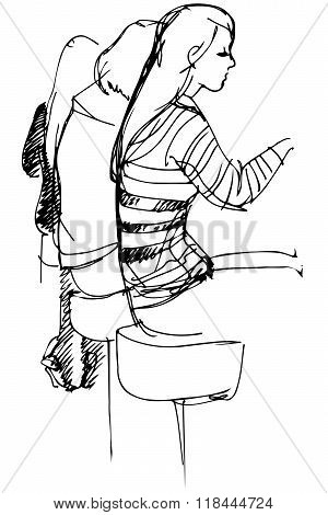 Vector Sketch Of The Girl On High Stools At The Bar Sit