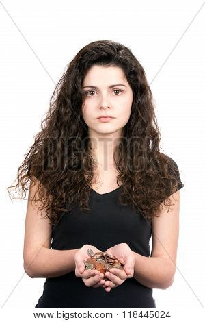 Woman Holding Money Coins