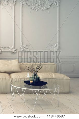 Living Room Interior Decorated with Elegant Wall Designs, Comfortable Sofa and Table with Glass Table Top - Luxury Home with Elegant Furnishings. 3d Rendering.